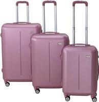 Pakoworld Σετ βαλίτσες Line 3ων τμχ τροχήλατες σκληρές από ABS ροζ