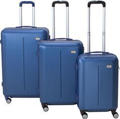 Pakoworld Σετ βαλίτσες Line 3ων τμχ τροχήλατες σκληρές από ABS σκούρο μπλε