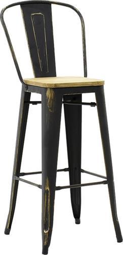 ΣκαμπόPakoworldUtopia Μεταλλικό Anti-Black Ξύλινο Κάθισμα Με Πλάτη Μπαρ