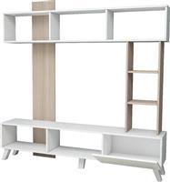 Pakoworld TV Unit Λευκό-Φυσικό 181x33x181