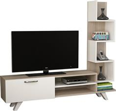 Pakoworld Ceren TV Sonoma-Λευκό 149,5x29,5x131,5