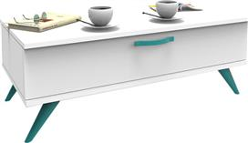 Pakoworld Τραπεζάκι Box λευκό-τυρκουάζ 100x50x37εκ