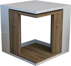 Pakoworld Τραπεζάκι βοηθητικό Cubic Zigon λευκό-καρυδί 40x40x40