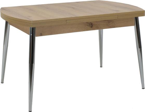 ΤραπέζιPakoworldΤραπέζι Genova sonoma-χρωμίου 130+60x80x75εκ
