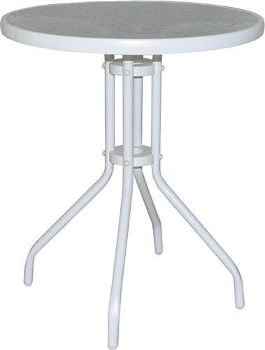 Τραπέζια Κήπου & ΒεράνταςPakoworldAlma Μεταλλικό Λευκό με Γυαλί Φ60x71εκ