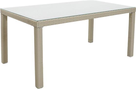 Τραπέζια Κήπου & ΒεράνταςPakoworldMilano 180x90x74 Λευκό-Wicker Γυαλί