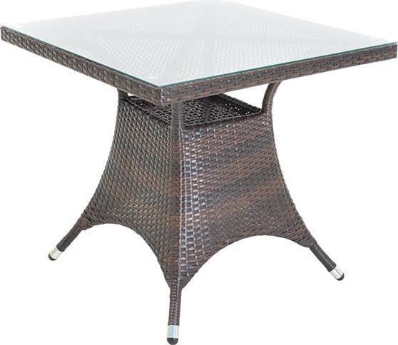 Τραπέζια Κήπου & ΒεράνταςPakoworldRoma 80x80x74εκ Cappuccino-Wicker Γυαλί