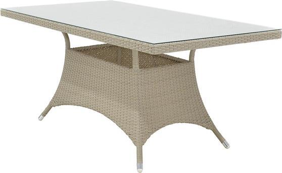 Τραπέζια Κήπου & ΒεράνταςPakoworldRoma Λευκό Πάγου-Wicker Γυαλί 140Χ80Χ74
