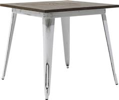 Pakoworld Τραπέζι μέταλλο & ξύλο Utopia anti-white 80x80x75,5