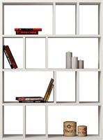 Pakoworld Βιβλιοθήκη Donie λευκό 90x25x122εκ