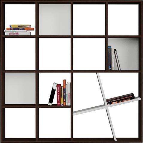 ΒιβλιοθήκεςPakoworldΒιβλιοθήκη Honey wenge-λευκό 125x24x125εκ
