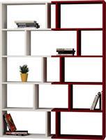 Pakoworld Βιβλιοθήκη Tapi 2 σετ λευκό-σκούρο κόκκινο 124x28x161εκ