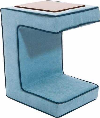 Pakoworld Βοηθητικό τραπεζάκι Bea υφασμάτινο μπλε 55x32x40εκ