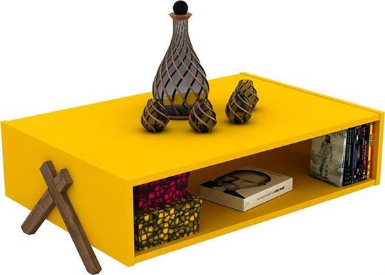 ΤραπεζάκιRafeviKipp Κίτρινο-Καρυδί 93,5x60,5x28,5