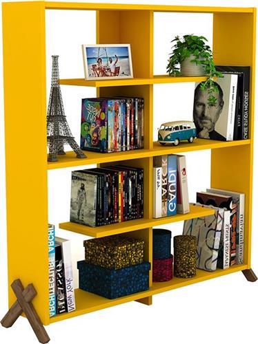 ΒιβλιοθήκεςRafeviKipp Κίτρινο-Καρυδί 113x28x115
