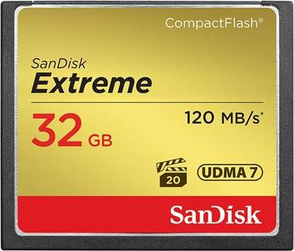 Compact Flash Sandisk Extreme 32GB 120/85MBs