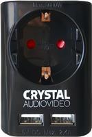 Crystal Audio Επιτοίχια Πρίζα με 2 Θύρες USB SU-1 Black