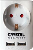 Crystal Audio Επιτοίχια Πρίζα με 2 Θύρες USB SUW-1 White